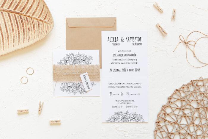 rustykalne-zaproszenie-slubne-z-jutowa-szarfa-rozyczki-papier-matowy-350g-dodatki-szarfa-jutowa-sznureczek--koperta-k4-eco