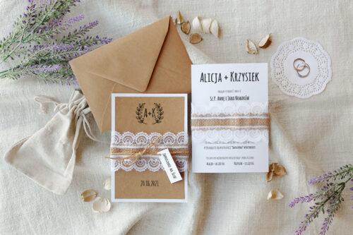 zaproszenie ślubne boho z koronką we wzorze gałązek