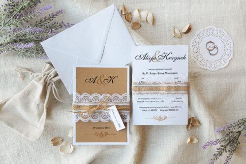 zaproszenie ślubne boho z koronką i ornamentem