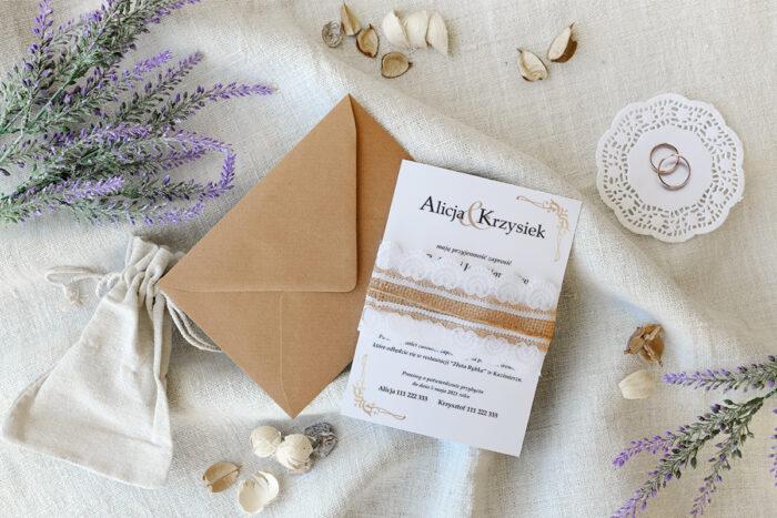 zaproszenie ślubne boho z koronką wzór secesja