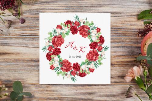 zaproszenie ślubne k4 z czerwono białym wiankiem kwiatów