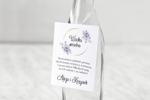 Zawieszka ślubna na alkohol - Siwe kwiaty na kole