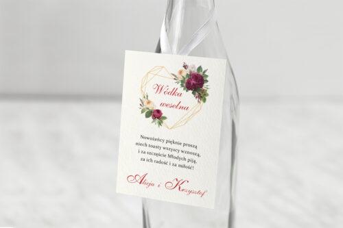 Zawieszka ślubna na alkohol - Angielskie Róże – Burgundowe