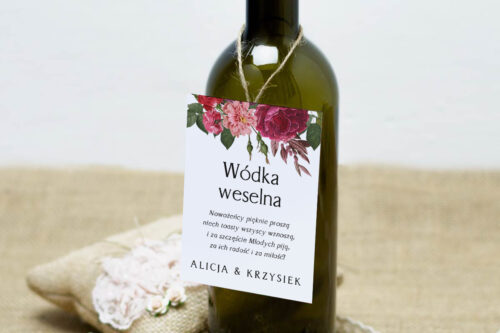 Zawieszka na alkohol do zaproszeń BOHO Czerwone&Eco – Bordowe Kwiaty