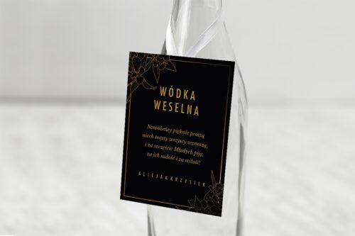 Zawieszka na alkohol do zaproszenia Geometryczne Czarno-białe – Minimalistyczne Kwiatuszki - Ciemne
