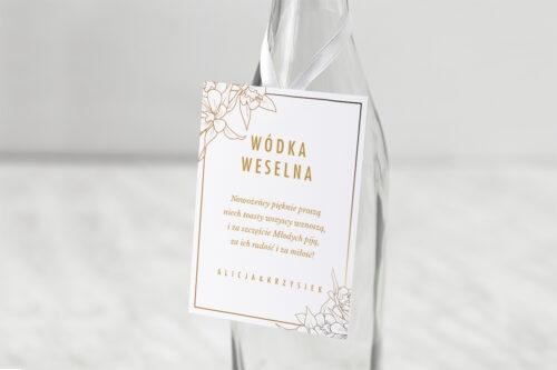 Zawieszka na alkohol do zaproszenia Geometryczne Czarno-białe – Minimalistyczne Kwiatuszki - Jasne