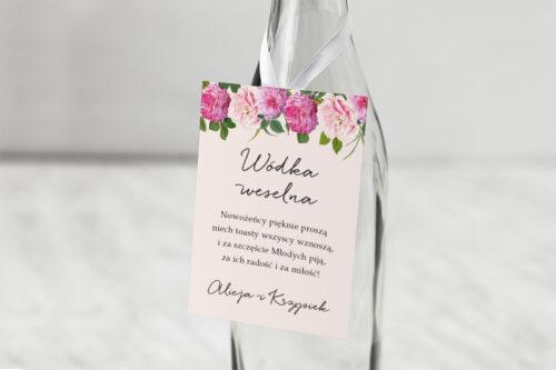 Zawieszka na alkohol do zaproszenia Eleganckie kwiaty - Białe i różowe piwonie