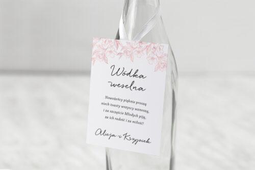 Zawieszka na alkohol do zaproszenia z nawami – Delikatne kwiaty – Pudrowe