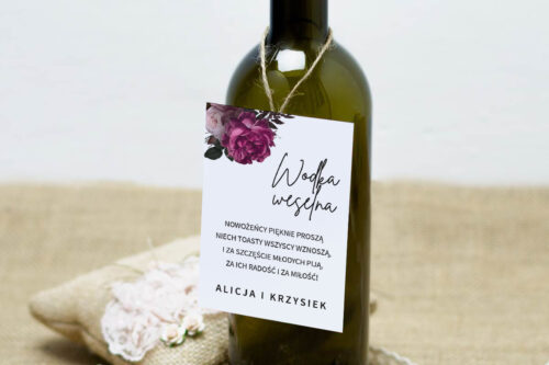 Zawieszka na alkohol do zaproszeń BOHO ECO - czerwona stulistna róża