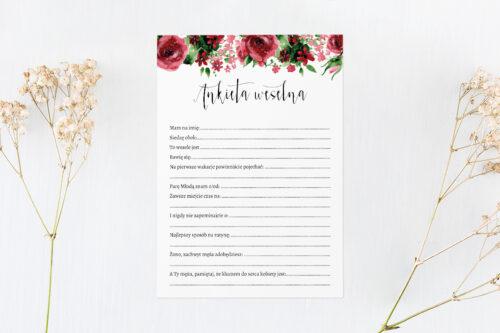 ankieta weselna we wzorze burgundowych róż