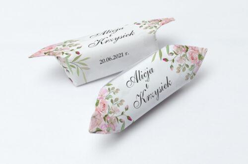 Krówki ślubne Kwiatowe Gałązki - Różowe Róże