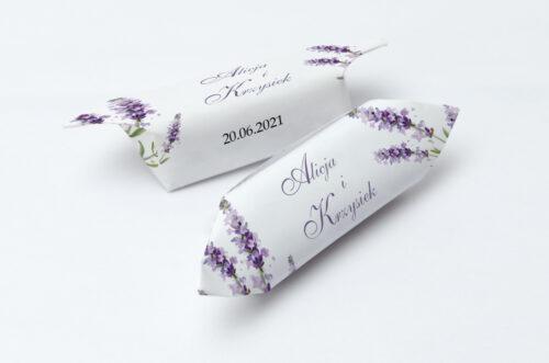Krówki ślubne 1 kg - Minimalistyczne z Kwiatem - Lawenda