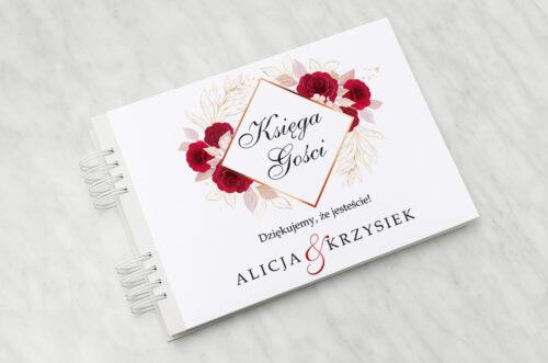 Księga gości ślubnych - Geometryczne Kwiaty - Pąsowe Róże