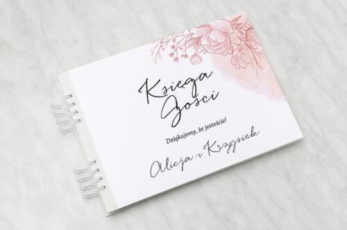Księga gości ślubnych - Z nawami – Delikatne kwiaty – Różowy kontur