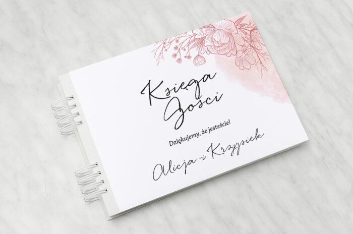 ksiega-gosci-slubnych-z-nawami-delikatne-kwiaty-rozowy-kontur-papier-matowy-dodatki-ksiega-gosci