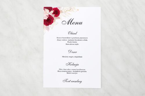 Menu weselne pasujące do zaproszenia Geometryczne Kwiaty - Pąsowe Róże