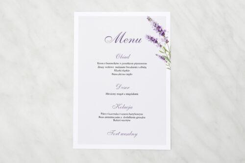 Menu weselne - Minimalistyczne z Kwiatem - Lawenda