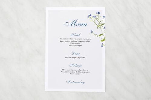 Menu weselne - Minimalistyczne z Kwiatem - Niezapominajka