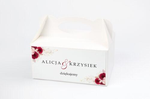 Ozdobne pudełko na ciasto - Geometryczne Kwiaty - Pąsowe Róże