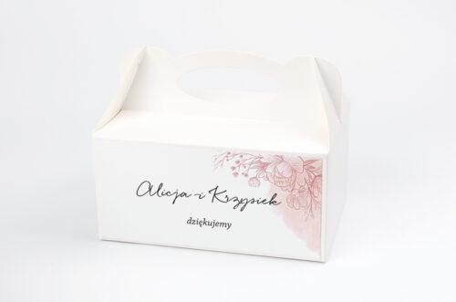 Ozdobne pudełko na ciasto - Z nawami – Delikatne kwiaty – Różowy kontur