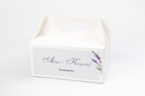 Ozdobne pudełko na ciasto - Minimalistyczne z Kwiatem - Lawenda