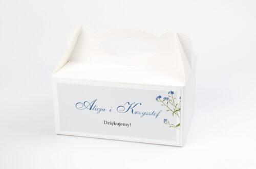 Ozdobne pudełko na ciasto - Minimalistyczne z Kwiatem - Niezapominajka