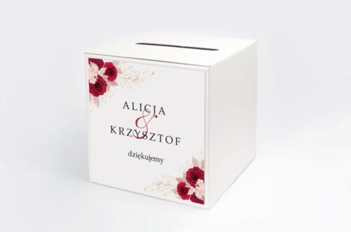 Personalizowane pudełko na koperty - Geometryczne Kwiaty - Pąsowe Róże