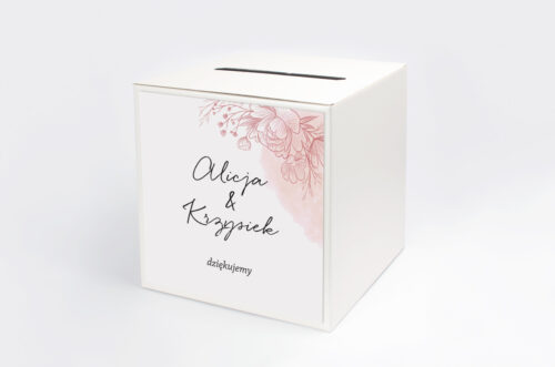 Personalizowane pudełko na koperty - Z nawami – Delikatne kwiaty – Różowy kontur