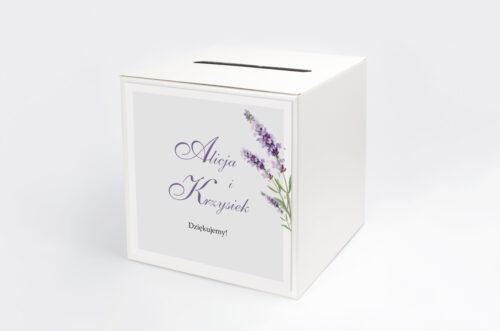 Personalizowane pudełko na koperty - Minimalistyczne z Kwiatem - Lawenda