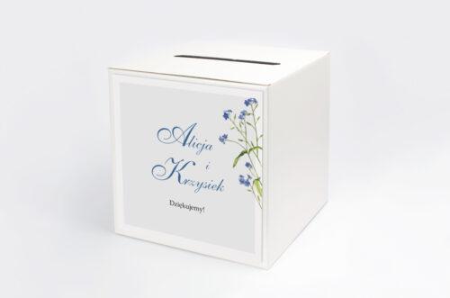 Personalizowane pudełko na koperty - Minimalistyczne z Kwiatem - Niezapominajka