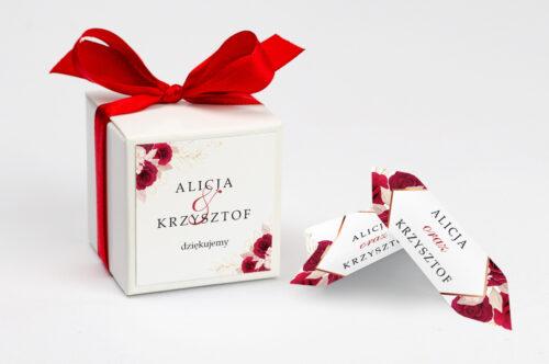 Pudełeczko z personalizacją do zaproszenia - Geometryczne Kwiaty - Pąsowe Róże