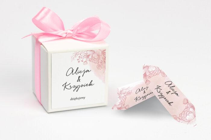 Ozdobne pudełeczko z personalizacją - Z nawami – Delikatne kwiaty – Różowy kontur
