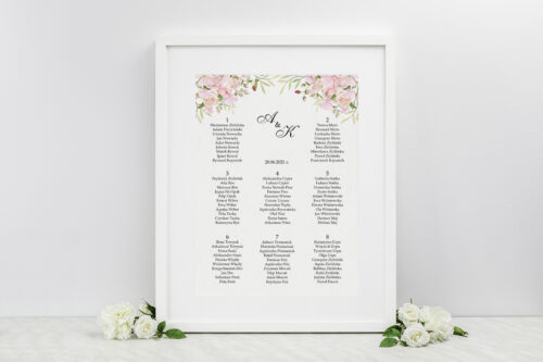 Plan stołów weselnych - Kwiatowe Gałązki - Różowe Róże
