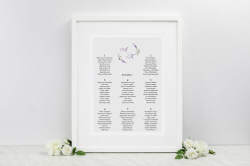 Plan stołów weselnych - Minimalistyczne z Kwiatem - Lawenda