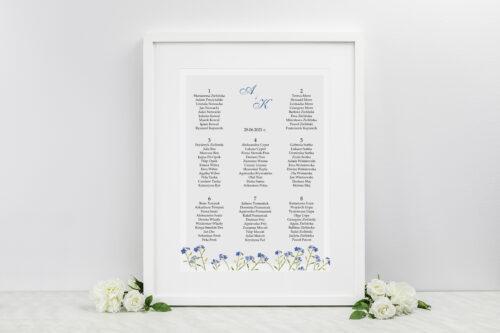 Plan stołów weselnych - Minimalistyczne z Kwiatem - Niezapominajka