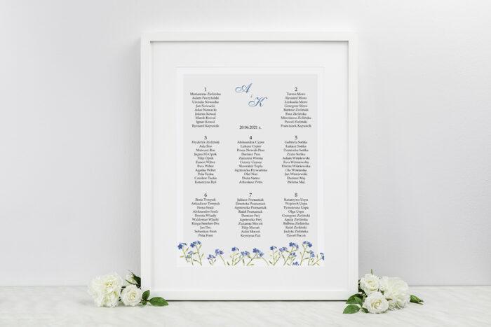 plan-stolow-weselnych-minimalistyczne-z-kwiatem-niezapominajka-dodatki-ramka-papier-ecruefakturowany