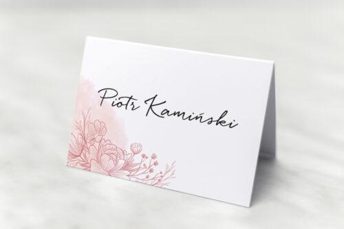 Winietka ślubna do zaproszenia z nawami – Delikatne kwiaty – Różowy kontur