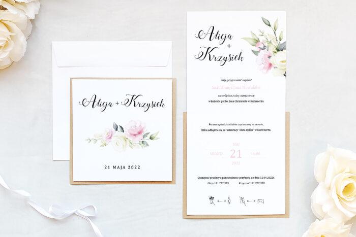 zaproszenie ślubne na eko podkładce z kwiatami
