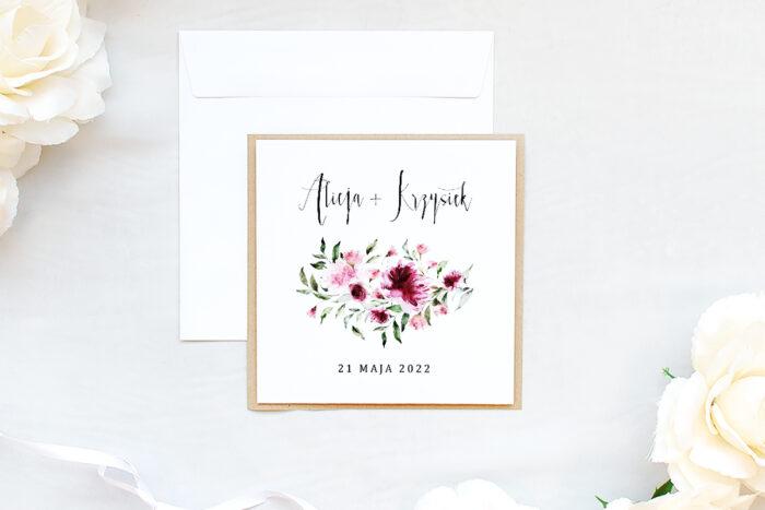 zaproszenie ślubne na eco podkładce z kwiatami