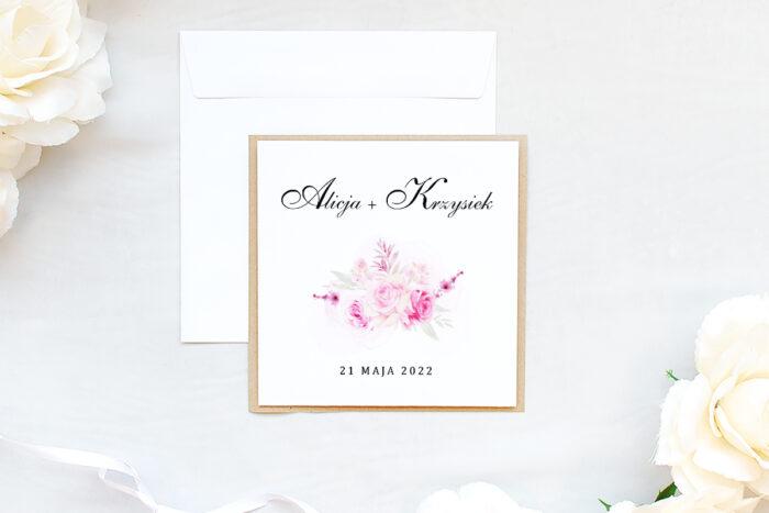 zaproszenie ślubne na eco podkładce z różami