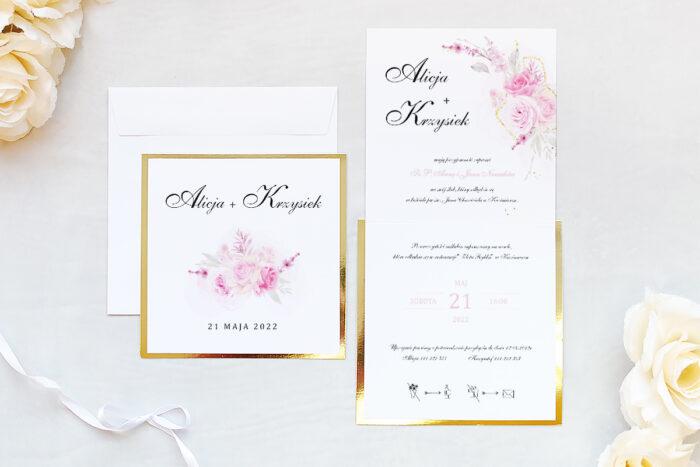 zaproszenie ślubne na złotej lustrzanej podkładce z różami