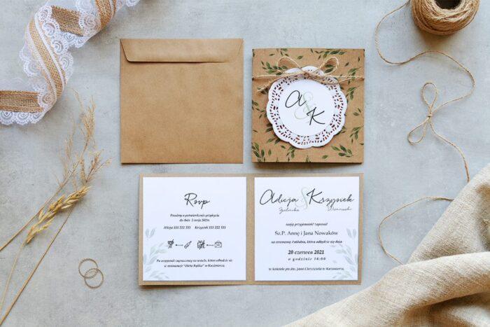 zaproszenie ślubne eco K4 z białym koronkowym kółeczkiem w delikatne listki
