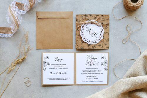 zaproszenie ślubne k4 eco z białym koronkowym kółeczkiem, wzór kwiatuszki