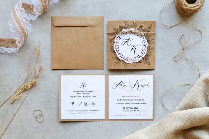zaproszenie ślubne eco z koronkowym kółeczkiem - wianuszek