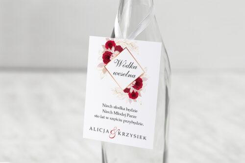 Zawieszka na alkohol do zaproszenia Geometryczne Kwiaty - Pąsowe Róże