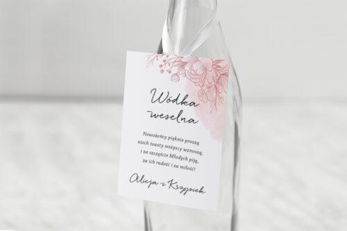 Zawieszka na alkohol do zaproszenia z nawami – Delikatne kwiaty – Różowy kontur