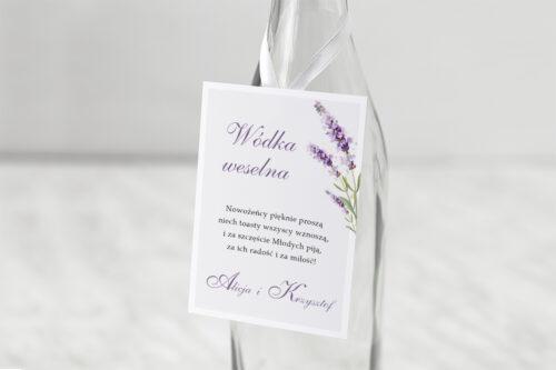 Zawieszka ślubna na alkohol - Minimalistyczne z Kwiatem - Lawenda