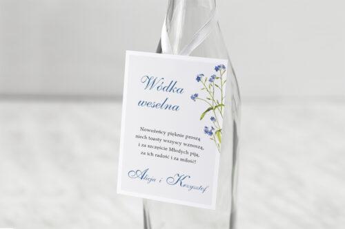 Zawieszka ślubna na alkohol - Minimalistyczne z Kwiatem - Niezapominajka