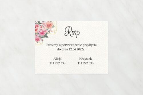 Dodatkowa karteczka do zaproszeń ze zdjęciem i sznurkiem – Różowy bukiet w sercu