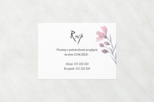 RSVP do zaproszeń Bukiet ze wstążką - Delikatnie różowy